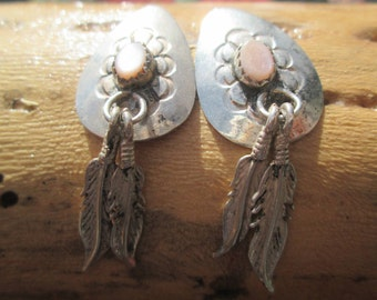 Mother of Pearl and Sterling Feathers Post Dangle Earrings