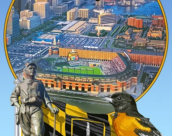 Baltimore, Maryland - Baseball Montage (Art Prints available in multiple sizes)