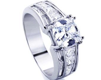 Women Silver 1.5ct Cushion Cut CZ Baguette Accent Band Wedding Engagement Ring(DJBRN62231)