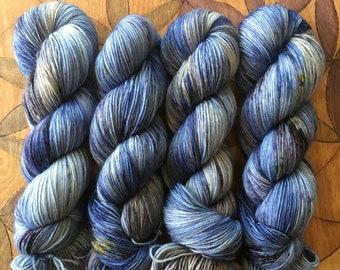 Blueberry Crumb Cake - Sturdy Sock/Polwarth DK Hand Dyed  Sock Yarn Superwash Merino Nylon/Polwarth DK