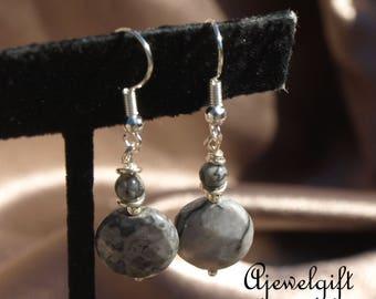 Black and White Picture Jasper Earrings  16021