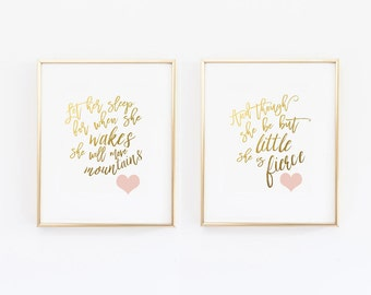 And though she be but little she is fierce, Let her Sleep, Nursery Wall Art, Gold and Pink Nursery Print, Shakespeare Quote
