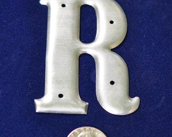 One Vintage Three-Inch Aluminum Letter R SHIPPING INCLUDED