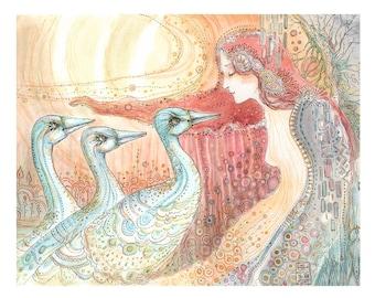 Moonbird Lady Art Print by Paulina Cassidy Blue Dream Birds Redhead Woman Girl Reproduction Ethereal Dreamy