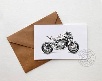 MV Agusta Italian Motorcycle Motorcycle Card Motorcycle Art Boyfriend Birthday Mans Birthday Motorcycle Gift Sports Bike Racing Bike