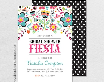 Fiesta Bridal Shower Invitation 1, Customized, Digital File