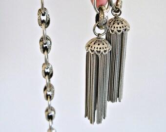 Pompons en métal lien ceinture Vintage bronze argenté lourd