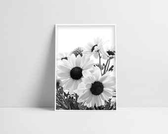 Black White Flowers Floral Home Decor Instant Download Printable Wall Art Floral Interior Art Monochrome Flowers Flower Poster Modern Gift