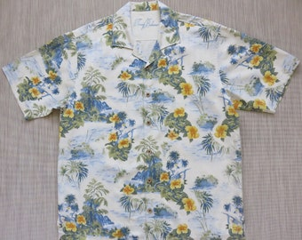 TOMMY BAHAMA Shirt Hawaiian Shirt Men Copyrighted Print Ukulele Island Princess Resort Wear 100% Silk Camp - L - Oahu Lew's Shirt Shack