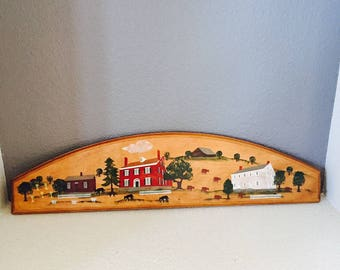 Americana Folk Art Plaque Vintage  Shakertown Kentucky Pleasant Hill Wood Plaque Tole Painting