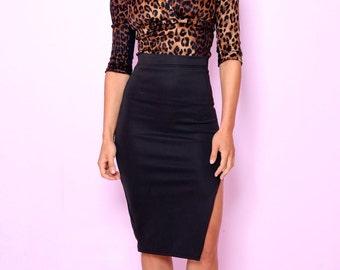 SALE 1 LEFT! Kitty Black Pencil Skirt