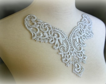 Tresors   Silver Large Lace Applique, Custom Design, Couture Design, Dressmaking, Lace Jewelry, Crafting, etc, GL-011