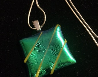 Green Dichroic Glass Pendant