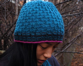 Crooked Walk Hat, Womens Knitted Hat, Hand Knit Hat, Knitting pattern, Easy to knit Hat, Close Fitting Hat
