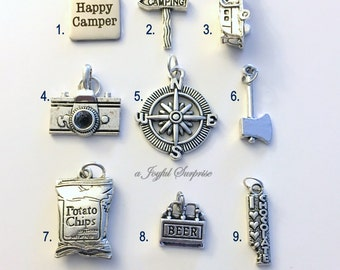 Camping Charm Add on to any of my listings 1 single Pendant silver Happy Camper Sign Trailer Camera Compass Ax Potato Chip Beer RV Chocolate