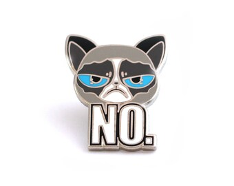 Cat lapel pin, angry cat enamel pin, Kitty enamel pin, NO pin, cat lover gift, funny cat, cat enamel pin, funny pins, funny kitty