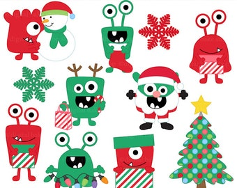 christmas clipart clip art monsters - Christmas Monsters Clipart - BUY 2 GET 2 FREE