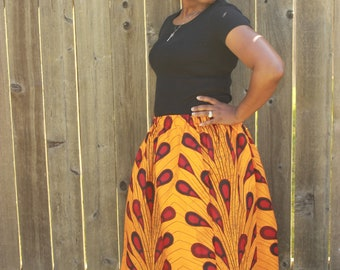 Yellow Red Skirt Set, Adult African Skirt, Head Wrap, Ladies, African Headwrap, African Clothing, African Skirt, Wax Print, African Print