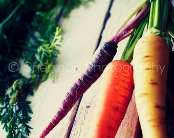 Carrot Photo - Food Photo - Rustic Print - 8x10 8x8 10x10 11x14 12x12 20x20 16x20 - Photography