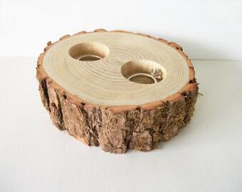 Rustic Ring Bearer Bowl Pillow Alternative Sassafras Log Wedding Ring Holder All Natural Wood