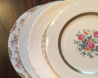 Vintage Mismatched China Dinner Plates / Set of 4 / Cottage Chic / Shabby Chic / Spode / Haviland Gainsborough/ Noritake Charmaine/ 1008
