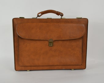1970s Mens Briefcase by Airway Luggage Brown Leather Look Vinyl Attache Case Nice Distressing Sound Condition Clean Inside