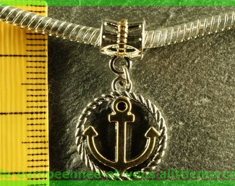 European bail N174 Pearl anchor bracelet charms