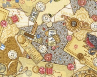 Cotton Fabric Quilting Vintage Sewing Room