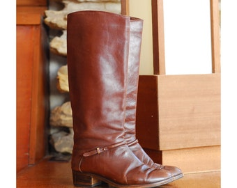 vintage brown leather Italian boots / size 8 7.5