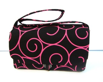 "Large 4""  Size Coupon Organizer Bag Holder - Attaches to Your Cart Black with Pink Swirls"