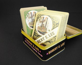 Vintage Playing Cards Robert E. Lee Riverboat 2 Decks in Hinged Tin Box