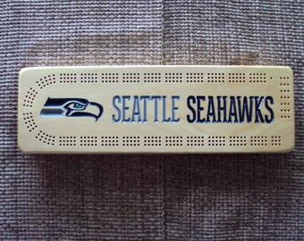 Rustic Cribbage Board - Seattle Seahawks - Football Furniture Log Cabin Lodge Deer Camp Man Cave