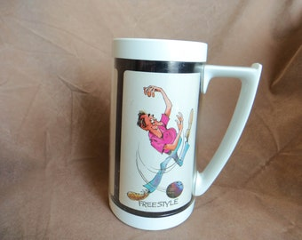 Vintage Thermo Serv Insulated  Mug Bowling  Humor Made in USA