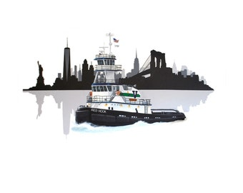 "Tugboat / Red Hook / Vane Brothers / New York City Skyline / Print / Wall Art / Nautical Decor / Available in 5x7"" & 8x10"""