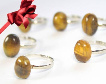 Tiger eye ring, Gold stone ring, Adjustable ring, Stone favor ring, Gemstone ring, simple stone ring, dainty stone ring,tiger solitaire ring
