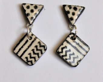 Ceramic Post and Dangle Earrings, Black and White Triangle and Square, Gift for Her, Handmade One of a Kind Jewelry