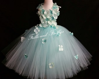 Aqua Flower Girl Dress / Flower Girl Dresses / Bridesmaid Dress / Princess Dress / Simple Wedding Dress / Formal Dress / Flower Girl Gift