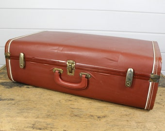 Vintage Brown Suitcase Luggage, Brown Suitcase, Hard Suitcase, Luggage Bag, Large Suitcase, Vintage Luggage Suitcase, Leather Edge, Golden