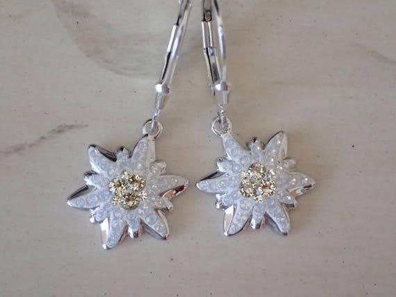 Swarovski Jonquil Edelweiss Earrings, Sterling Silver
