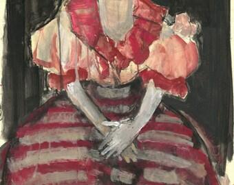 """Originalzeichnung, """"Hommage à Frida Kahlo XV"""", Mischtechnik auf Papier, 59x42 cm"""