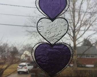 Stained glass heart suncatcher, stained glass heart sun catcher, window hanging