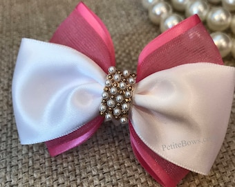 White and Pink Hair bow, Pink hair Bow, White Hair Bow