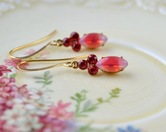 Petite pink & red drop earrings - Dainty gift for woman