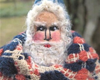 "OOAK Primitive Folk Art Santa ""The Lil' Drummer"" Santa Original Design Handcrafted from 1800's  Antique Coverlet w/Handmade Drum & Sticks."