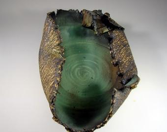"Ceramic Art Bowl - ""Dark Forest II"" - Handmade Pottery Centerpiece Bowl - Wheel Thrown Stoneware Art"