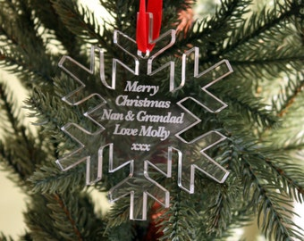 Snowflake Personalised Christmas Tree Decoration with ANY wording- Happy Christmas to Nanny & Grandad, Mum, Dad......