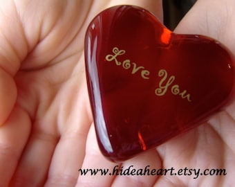 "Wedding Love is Magical Ruby Red Glass Heart It's The Little Things that Count 1.5x1.5x.5"" 1.6oz"