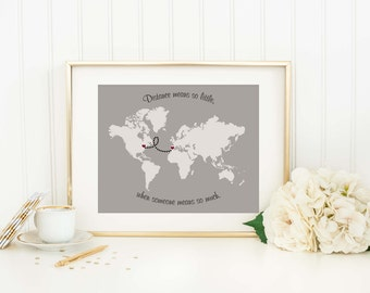 Personalized Long Distance Map - Long Distance Gift - Relationship Gift - Grandparent Gift - Custom World Map - Mom Gift - Dad Gift - Map