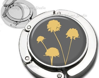 Dandelions in Gray and Yellow Foldable Purse Hook Bag Hanger Compact Mirror