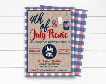 4th of July Invitation, Independence Day Invitation, Picnic and Fireworks Invitation, Patriotic Invitation, Red White and Blue, DIY/Printed